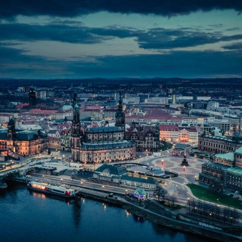 Die Dresdener Altstadt hochauflösend mit der Drohne fotografiert